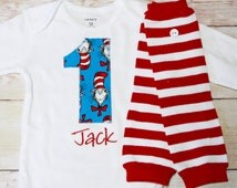 """Dr. Suess The Cat in the Hat Inspired Birthday """"1"""" Shirt for 1st Birthdays - Shirt and Leg Warmers -Boy Birthday Outfit"""
