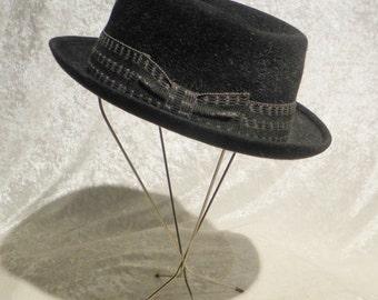 Hat Men's Fedora by Resistol 1960's Black 100% Variegated Wool Felt Woven Band Mad Men Style from Innes Store Wichita Kansas