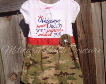 Welcome Home Military T-shirt Dress-Red and Blue