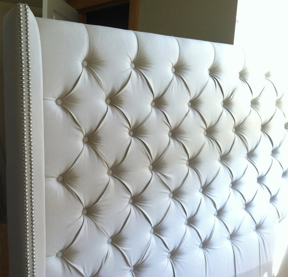 Diamond Tufted Twill Wingback Headboard King Extra Tall