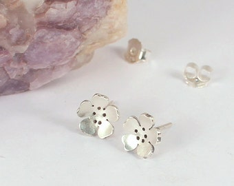 Floral Stud Earrings, Sterling Silver, Made to Order