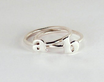 2 Initial Letter Stacking Rings, Sterling Silver, Made to Order