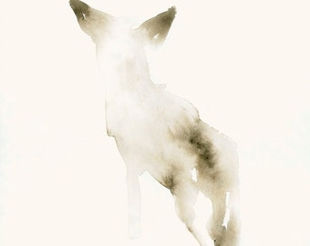 Small Dog Art Print from Original Watercolor Snow