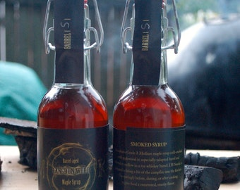 TWO Bottles of Langdon Wood SMOKE - Barrel-aged Smoked Maple Syrup
