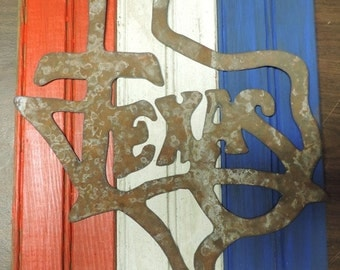 Texas Plaque background made from old beadboard, sign cut from medal