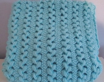 Spring Blue Hairpin Lace Blanket - Light Weight