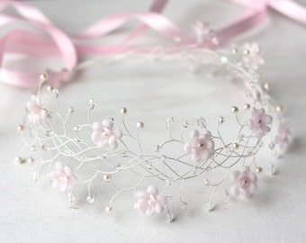 31 Pink flower crown, Bridal crown, Wedding crown, Pink bridal crown, Bridal crown, Flower bridal crown, Hair accessories, Headband, Crowns.