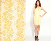 Vintage EMBROIDERED Yellow Mini Shift 60s Scooter Dress // Mod // Twiggy //