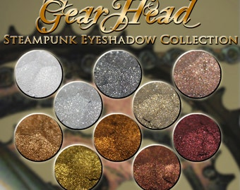 GEARHEAD Eyeshadow Collection: 10 (Ten) Jars of Mineral Eyeshadow in Metallic Colors, Steampunk Inspired, Ships Out in 4-7 Days