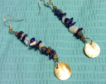 Lapis Lazuli and Opalite earrings with shell