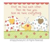 First we had each other - Elephants wall art - Baby nursery wall art - polka dots