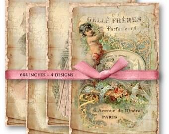 Antique Backgrounds - Digital Collage Sheet Download 857 - Instant Download Printables