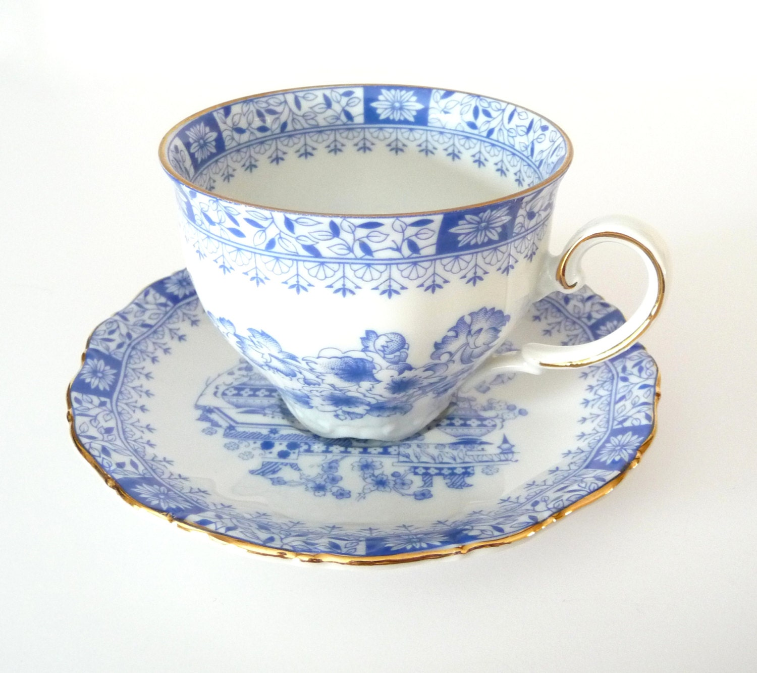 seltmann weiden bavaria w germany tea cup and saucer blue and. Black Bedroom Furniture Sets. Home Design Ideas