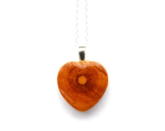 Natural Wood Heart Necklace. Valentines gift for her. Wooden Heart Pendant.  Eco friendly Jewelry. Heart necklace Starlight Woods