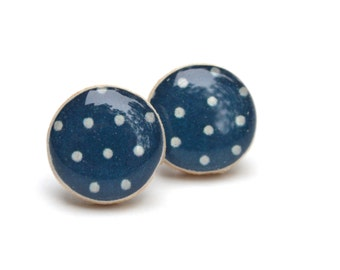 Navy Blue Polka Dot Stud Earrings. Navy Blue Studs. Polka Dot Studs eco friendly jewelry wood earrings, minimalist jewelry starlight woods