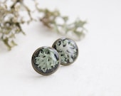 Lichen Earrings - whimsical great nature lover gift - resin botanical jewelry for her - Hypogymnia physodes