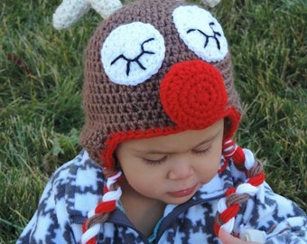 Red nose reindeer Rudolph crochet hat Christmas hat
