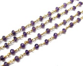 Gold Plated Faceted Amethyst gemstone wire wrapped chain, wholesale Beaded Chain , rosary chains, Bulk Chain Spools jewelry making supplies