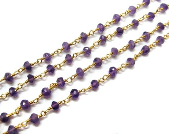 1 meter Gold Plated Faceted Amethyst gemstone wire wrapped chain, wholesale Beaded Chain rosary chains  Bulk Spools jewelry making supplies
