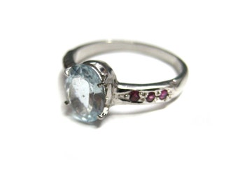 925 Sterling Silver Ring studded Faceted Aquamarine and Ruby Gemstone Rhodium Plated Engagement wedding Ring christmas gift party wear ring