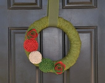 Christmas Wreath, Handmade Holiday Wreath,  Christmas Yarn Wreath, Traditional Wreath, Traditional Holiday Decor, WInter Wreath,Felt Flowers