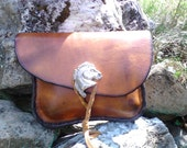 leather belt pouch, with pewter horse head button