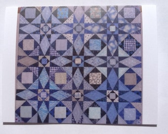 Set of 10 Blue Quilt Note Cards (folded)