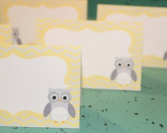 MOD OWL Theme Baby Shower or Happy Birthday Food Labels Table Tents {Set of 8} Chevron Yellow Gray - Party Packs Available