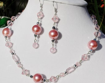 Pink, PROM, pearl, crystal, Swarovski, silver, chain, Mothers Day, OOAK, handcrafted, jewelry set, Gift, pastel, chandelier, Item 2014-12