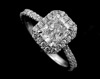 Platinum Modern Style Micropave Diamond Halo Engagement Ring Setting for Radiant Cut Center