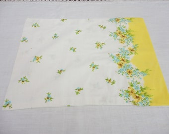 """Vintage Baby Pillowcase - Floral with Yellow Hem and Aqua Flowers - 14.5"""" x 10.5"""""""