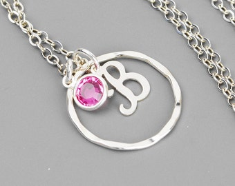 Initial Infinity Necklace - Sterling Silver Initial Necklace - Swarovski Crystal Birthstone Necklace - Personalized Necklace