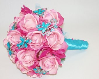 SILK Wedding or Quinceanera Real Touch Fuchsia/ Light PINK TURQUOISE Brooch  Bouquet, Custom Order