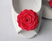 Handmade rose shoe clips in coral
