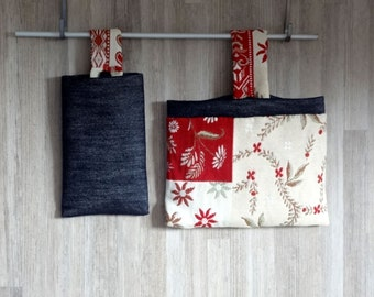 Fabric organizer for kitchen or office folk style  - storage - OOAK - home decoration - mountain decor