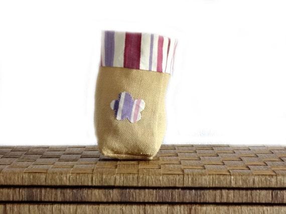 Kitchen storage basket - gift - pink to violet stripes - home decor - for her