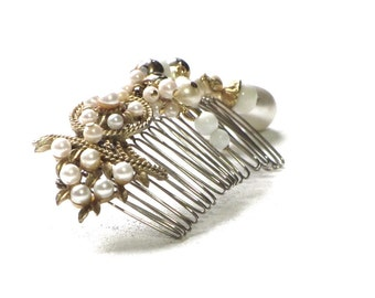 Golden Pearl Hair Comb Beach Wedding Bridal Hair Jewelry OOAK Upcycled