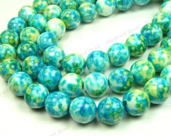 4mm Rain Flower Stone Ocean Jade Round Gemstone Beads - 15.5 Inch Strand - Blue, Green, Yellow - BB5