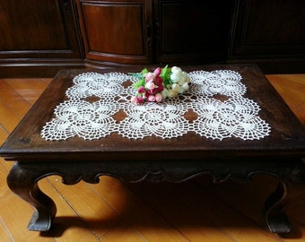 Rectangular Crochet Tablecloth Cream Lace Table Runner Centerpiece Doily Cottage Chic Vintage Flower Motifs Bridal Shower Gift