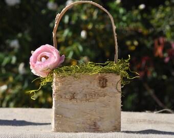 Flower girl basket~Shabby Chic~ Rustic~Woodland~Fairytale Wedding~Wood/birch Bark/Pink Flower
