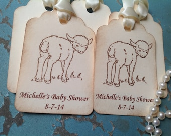 Lamb Baby Shower Personalized Tags Birthday Gift Tags-set of 12