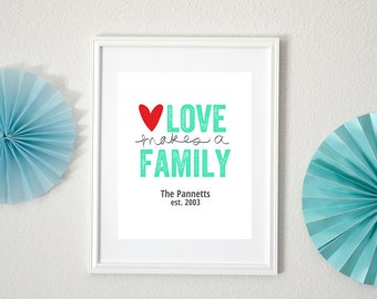 Personalized Love Makes a Family Art Print 8x10
