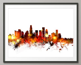 Los Angeles Skyline, Los Angeles California Cityscape Art Print (1085)