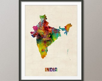 India Watercolor Map, Art Print (1107)