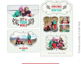 INSTANT DOWNLOAD - 5x7 Folded Luxe Card Template - Family Joy - E229