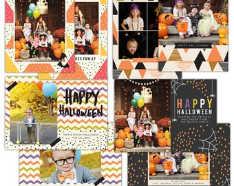 INSTANT DOWNLOAD -  Halloween Card Photoshop templates - E1106