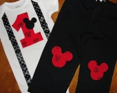 Mickey Mouse 1st Birthday Outfit Mickey Print with Suspenders Bodysuit and Pants Set  for Baby Boy Birthday Party Outfit