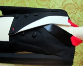 CUSTOM tuxedo for Barbara Tailcoat with contrastig lapels in black red and white, tuxedo style blazer