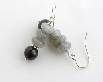 Garnet Labradorite earrings, Sterling silver, Semiprecious, Modern, January birthday, Jewelry