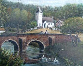 Mordiford Bridge Hereford Vintage Art 1960s OOAK Painting Vintage Riverscape Painting Vintage Oil Painting Vintage Landscape Painting